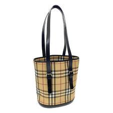 BURBERRY Nova Check Tote Bag Beige PVC Leather Auth rd435