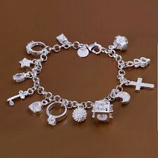 Wholesale 925Sterling Solid Silver Jewelry Crystal 13 Charms Bracelet Women H144