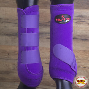 Large Hilason Horse Medicine Sports Boots Rear Hind Leg Purple