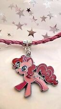 MY LITTLE PONY PINKY PIE  PINK LEATHERET NECKLACE AGE 3,4,5,6,7,8GIFT BOX ,MAGIC