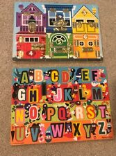 Melissa & Doug Locks Latches Educational Numbers Puzzle Animals Abc Chunky Lot