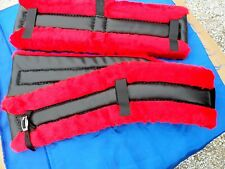 Horse or Mule Size Fleece Harness Saddle & Breast Collar Pads Set Amish Made RED