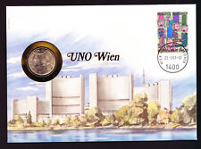 1987 UN United Nations Wien Vienna Austria Austrian stamp & coin on cover
