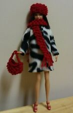 "11 1/2"" Doll Clothing Zebra stripe Coat, knit red Hat, neck scarf & purse"