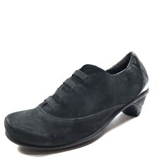 NAOT Royal Black Velvet Leather Capped Toe Oxford Heels Women's Size 37 M*