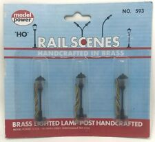 NEW! HO Scale Model Power #593 Brass Handcrafted Lamp Posts (3 Street Lights)