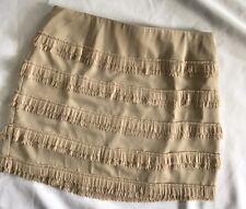 Ann Taylor Nude Tiered Fringe Ruffled Mini Skirt Size 14