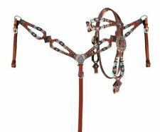 Showman Turquoise & Orange Beaded Leather BrowBand Bridle BreastCollar Reins Set