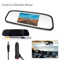 "5"" TFT LCD Mirror Screen Monitor For Car Rear View Backup Camera Reversing US"
