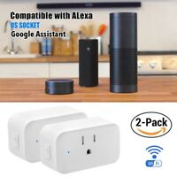 2 Pack Wifi Smart Plug Outlet Socket Remote Timer For Echo Alexa Google Home US