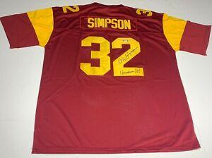 "OJ Simpson Signed USC Trojans Football Jersey ""Heisman"" PSA AG79520"
