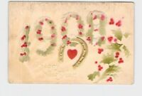 PPC POSTCARD NEW YEARS 1908 HOLLY SPRIGS HORSESHOE HEART AIRBRUSHED EMBOSSED