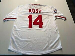 New!!! CINCINNATI REDS #14 PETE ROSE WHITE Baseball Jersey 2X-Large