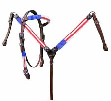 Showman American Flag Beaded Red White Blue Leather Bridle BreastCollar Rein Set