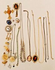 Costume Jewelry Lot Gold Plate Sterling Silver Brooch Pins Necklaces Vintage