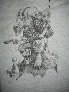VINTAGE COMING ATTRACTIONS 70s NICHOLSON ART Old Goat Hiking T-Shirt Size Men's