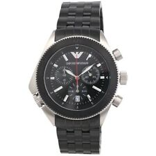 Emporio Armani Men's Black Chronograph Stainless Steel Watch - AR0547