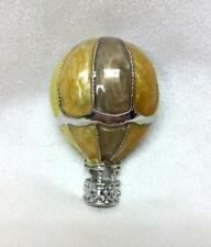 Vintage Enamel Silver Tone Multi Color Hot Air Balloon Brooch Pin 3D