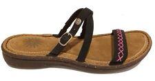 UGG Australia Strappy Sandals Black / Pink Embroidery US 7 /EUR 38 /UK 5.5 New