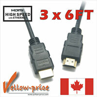 lot of 3 pieces 6FT GOLD HDMI Cable v1.4 high speed 1080p 3D support 6 Ft 1.8M