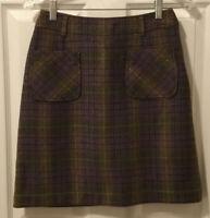 Liz Claiborne Liz Sport 100% Wool Brown Green Plaid Pencil Skirt Size 4 EUC!