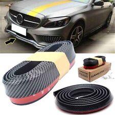 Universal 2.5M Carbon Fiber Car Bumper Lip Splitter Chin Spoiler Body Kit Trim