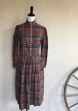 RALPH LAUREN Rare Vintage 80's Cotton Plaid Prairie Shirt Dress Modest Womans 14