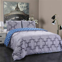 REVERSIBLE DUVET / QUILT COVER SET WITH PILLOWCASE VINTAGE GREY OR BLUE TOILE