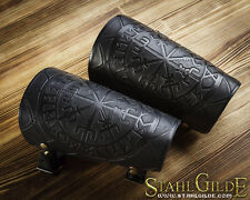 Handmade A Pair Leather Cuff Archery Arm Bracers Vegvisir Futhark Runes Scales