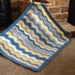 """OOAK Handmade Baby Boy Ripples Blanket 28"""" X 24"""" Blues/Buttermilk Seaside"""