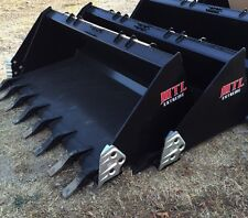 "74"" Severe Duty Tooth / Dirt Bucket w/ side cutters skid steer Bobcat-Ship $149"