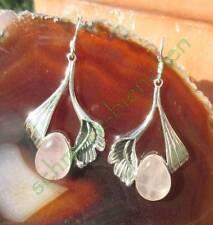 Ohrring Lilie Blume mit Rosenquarz rosa Stein der Liebe Sterling Silber 925
