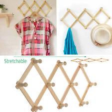 Wooden Hanger Rack Clothes Coat Wall Mounted Hanging Hat Towel Hook Retractable
