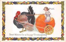 THANKSGIVING HOLIDAY TURKEY PUMPKIN CARRIAGE EMBOSSED POSTCARD (c. 1910) 25