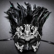Silver Ancient Venetian Mardi Gras Party Costume Mask Feather Masquerade for Men