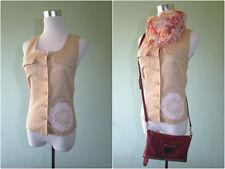ETAM Womens Casual Custom Crochet Embellish Linen Sleeveless Shirt Top sz S AV25