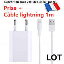 CABLE USB CHARGEUR PRISE IPHONE 6S/7/8/XS MAX/XR/11/Pro - CHARGEUR SECTEUR USB