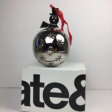 Crate and Barrel Silver Snowman Ornament Potpourri Ball Ornament Christmas
