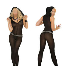 Long Sleeve Women Sexy Lady Footless Hooded V Neck Black Body Stocking with Hood