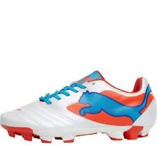 Puma Junior PowerCat 4 FG Football Boots, White/Orange/Ocean, UK 5 EU 38, BNIB