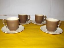 More details for 4 branksome brown&cream coffee cups&saucers  ~firing flaws~