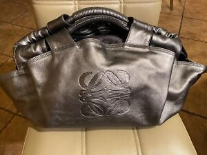 Auth LOEWE Logo Nappa Aire Leather Hand Bag Satchel