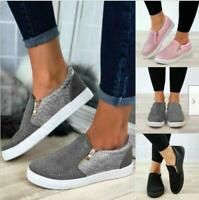 Women's Fashion Zipper Loafers Pumps Casual Slip On Flat Trainers Fuzzy Shoes