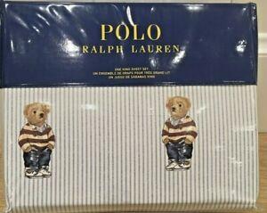 Ralph Lauren POLO White Cotton BOY Teddy Bear king Stripe Sheet Bed Set Sold Out