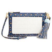 Tory Burch Color Block Tassel Crossbody Blue Wild Pansy Wallet Clutch Purse