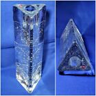 "IITTALA Arkipelago 8 3/4""  Triangle ICE GLASS Candlestick Holder TIMO SARPANEVA"