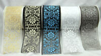 10m Roll Wire Edge Christmas Organza Glitter Ribbon 70mm Wrapping, Bows, Cakes