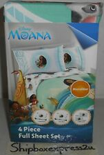 NEW DISNEY MOANA 4 PIECE FULL BED SHEET SET