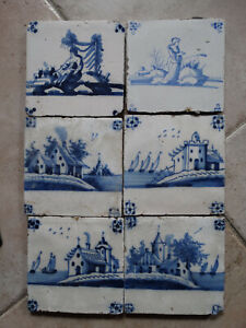 6 Delft Blue tiles, landscape tiles, circa 1750.