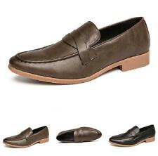 Retro Men Business Leisure Faux Leather Shoes Pointy Toe Oxfords Slip on Party L